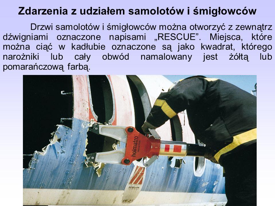 Drzwi samolotów i śmigłowców można otworzyć z zewnątrz dźwigniami oznaczone napisami RESCUE. Miejsca, które można ciąć w kadłubie oznaczone są jako kw