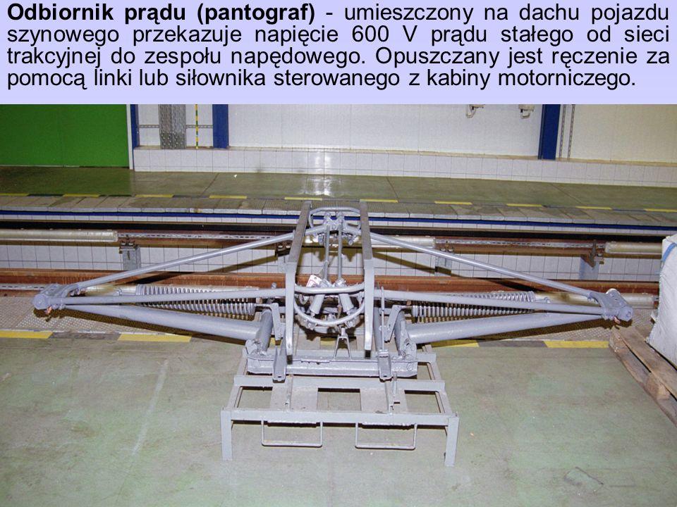 Odbiornik prądu (pantograf) - umieszczony na dachu pojazdu szynowego przekazuje napięcie 600 V prądu stałego od sieci trakcyjnej do zespołu napędowego