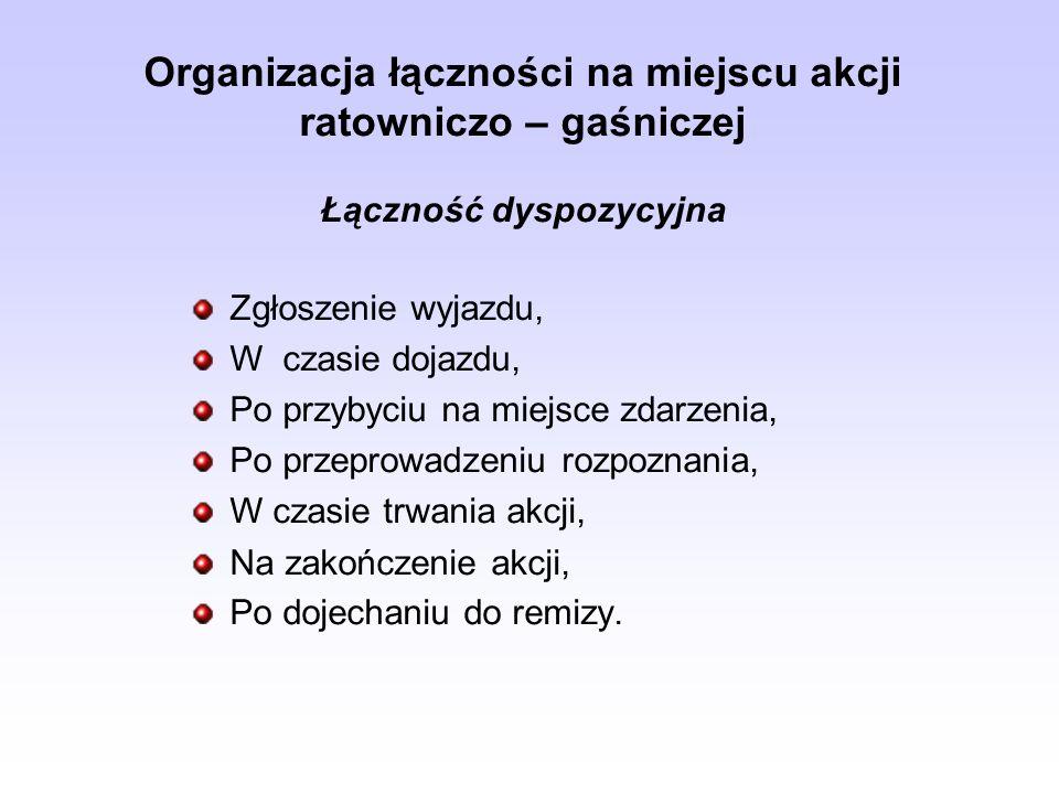 Organizacja łączności na miejscu akcji ratowniczo – gaśniczej Łączność dyspozycyjna Zgłoszenie wyjazdu, W czasie dojazdu, Po przybyciu na miejsce zdar
