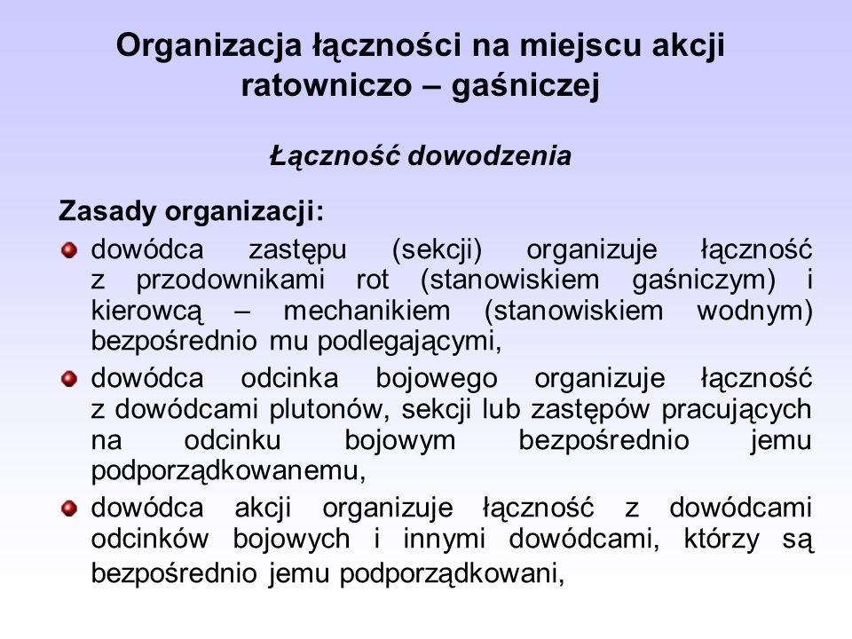 Organizacja łączności na miejscu akcji ratowniczo – gaśniczej Łączność dowodzenia Zasady organizacji: dowódca zastępu (sekcji) organizuje łączność z p