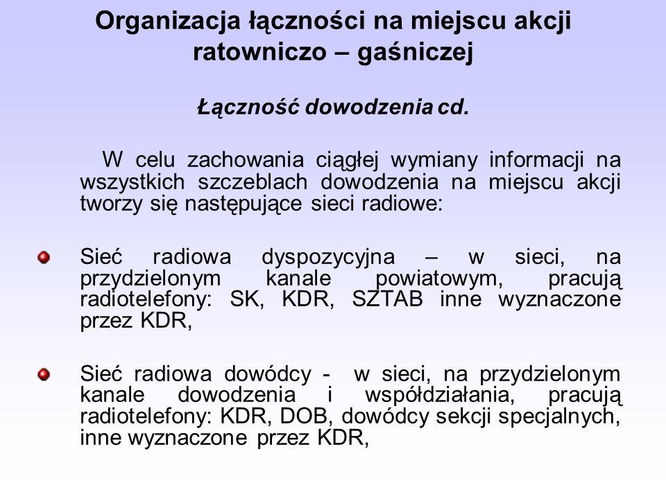 Organizacja łączności na miejscu akcji ratowniczo – gaśniczej Łączność dowodzenia cd. W celu zachowania ciągłej wymiany informacji na wszystkich szcze