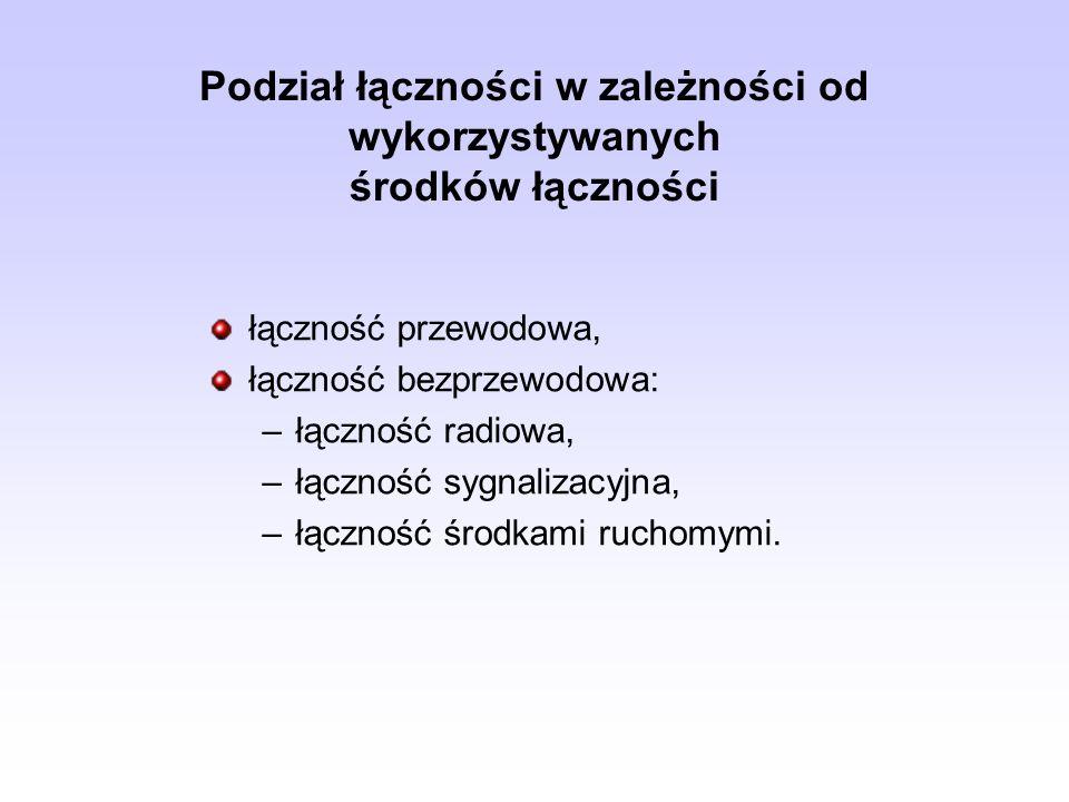 Podział łączności w zależności od wykorzystywanych środków łączności łączność przewodowa, łączność bezprzewodowa: –łączność radiowa, –łączność sygnali
