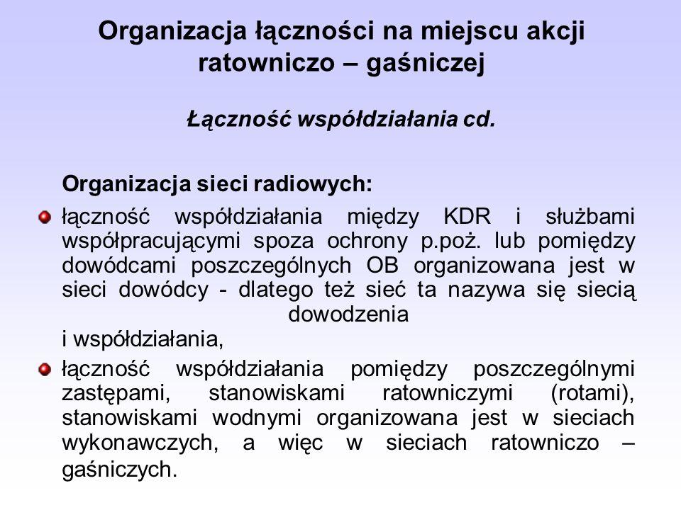 Organizacja łączności na miejscu akcji ratowniczo – gaśniczej Łączność współdziałania cd. Organizacja sieci radiowych: łączność współdziałania między