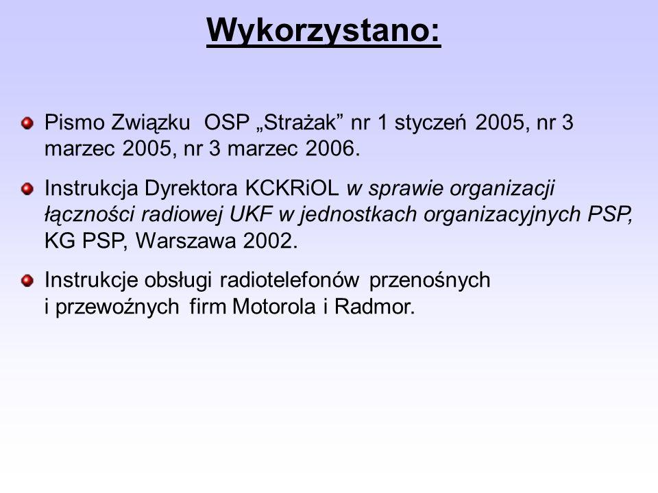 Pismo Związku OSP Strażak nr 1 styczeń 2005, nr 3 marzec 2005, nr 3 marzec 2006. Instrukcja Dyrektora KCKRiOL w sprawie organizacji łączności radiowej