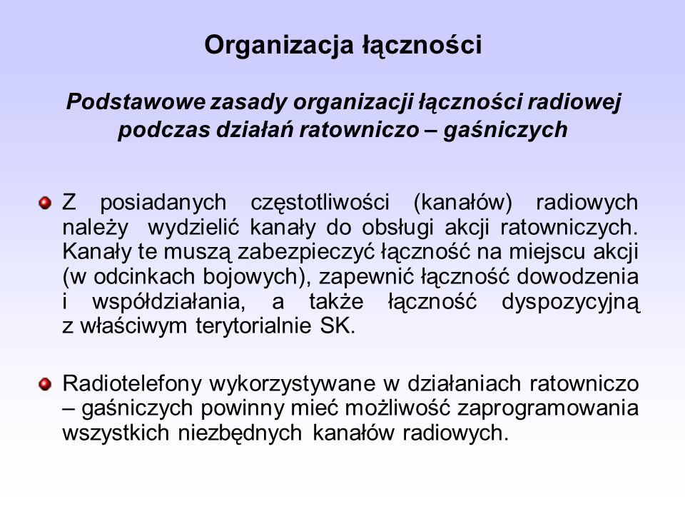 Organizacja łączności Podstawowe zasady organizacji łączności radiowej podczas działań ratowniczo – gaśniczych Z posiadanych częstotliwości (kanałów)