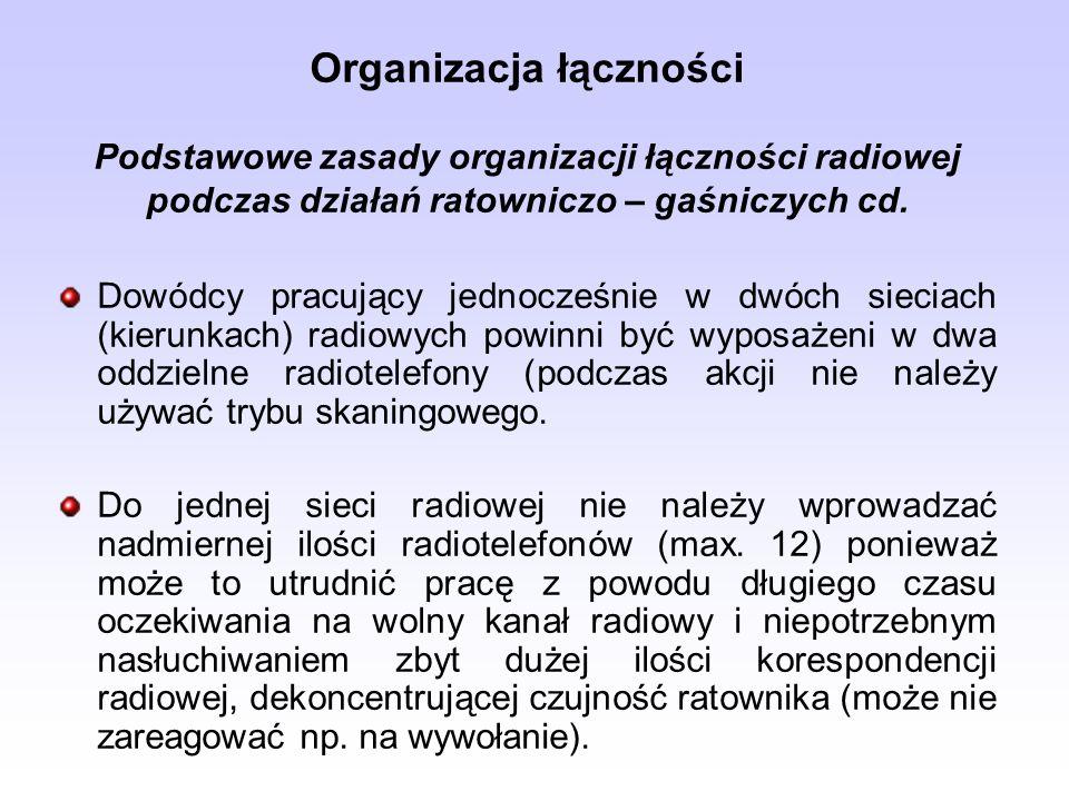 Organizacja łączności Podstawowe zasady organizacji łączności radiowej podczas działań ratowniczo – gaśniczych cd. Dowódcy pracujący jednocześnie w dw