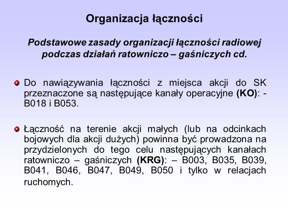 Organizacja łączności Podstawowe zasady organizacji łączności radiowej podczas działań ratowniczo – gaśniczych cd. Do nawiązywania łączności z miejsca