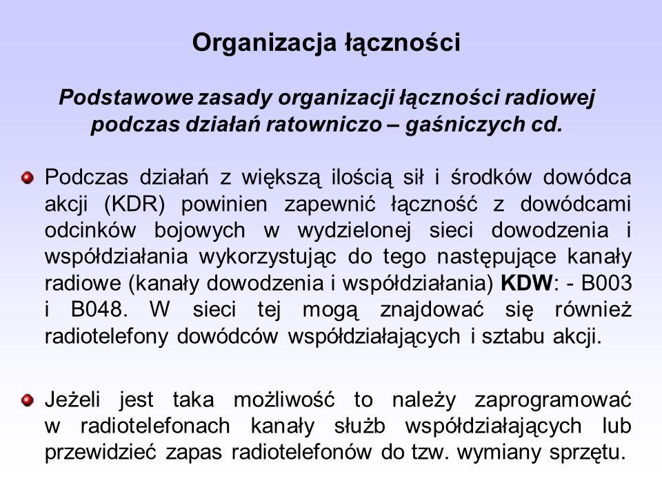Organizacja łączności Podstawowe zasady organizacji łączności radiowej podczas działań ratowniczo – gaśniczych cd. Podczas działań z większą ilością s