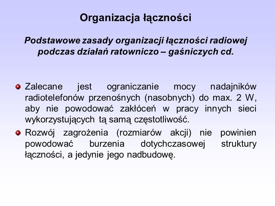Organizacja łączności Podstawowe zasady organizacji łączności radiowej podczas działań ratowniczo – gaśniczych cd. Zalecane jest ograniczanie mocy nad