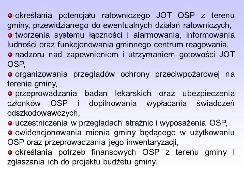 określania potencjału ratowniczego JOT OSP z terenu gminy, przewidzianego do ewentualnych działań ratowniczych, tworzenia systemu łączności i alarmowania, informowania ludności oraz funkcjonowania gminnego centrum reagowania, nadzoru nad zapewnieniem i utrzymaniem gotowości JOT OSP, organizowania przeglądów ochrony przeciwpożarowej na terenie gminy, przeprowadzania badan lekarskich oraz ubezpieczenia członków OSP i dopilnowania wypłacania świadczeń odszkodowawczych, uczestniczenia w przeglądach strażnic i wyposażenia OSP, ewidencjonowania mienia gminy będącego w użytkowaniu OSP oraz przeprowadzania jego inwentaryzacji, określania potrzeb finansowych OSP z terenu gminy i zgłaszania ich do projektu budżetu gminy.