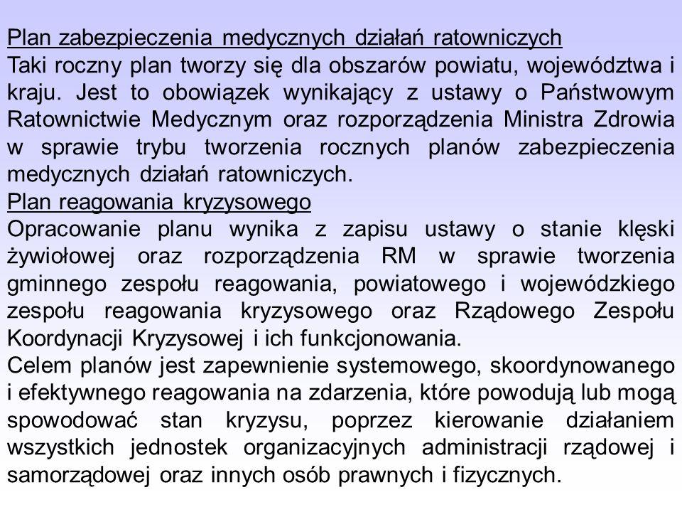 Plan zabezpieczenia medycznych działań ratowniczych Taki roczny plan tworzy się dla obszarów powiatu, województwa i kraju.