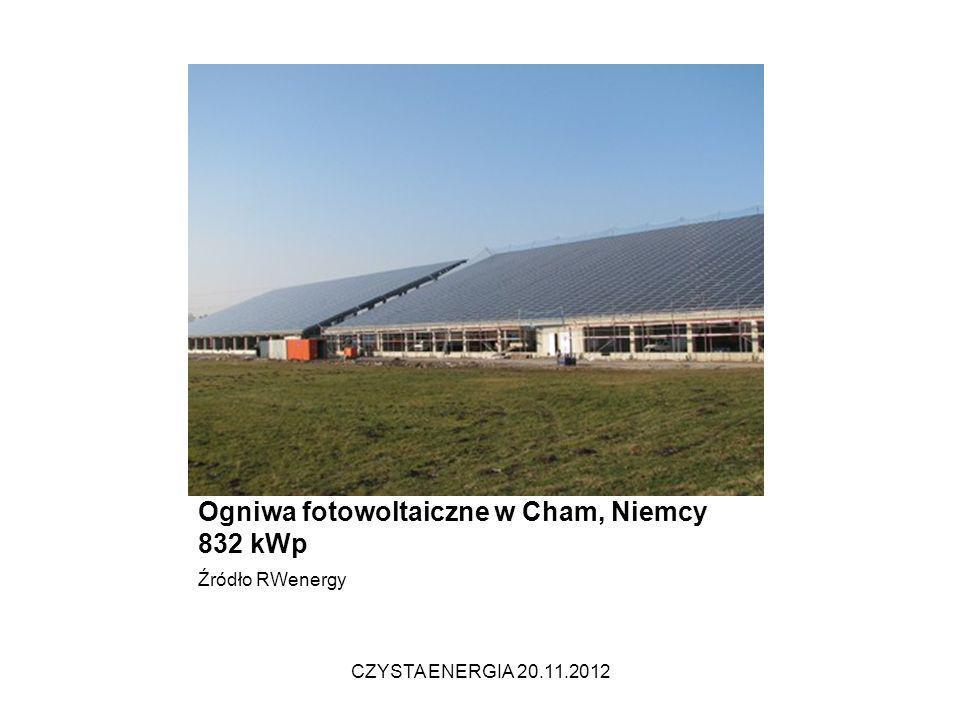Projekt s:top 832 Chammünster Fertigstellung: Dezember 2009 Ogniwa fotowoltaiczne w Cham, Niemcy 832 kWp Źródło RWenergy CZYSTA ENERGIA 20.11.2012