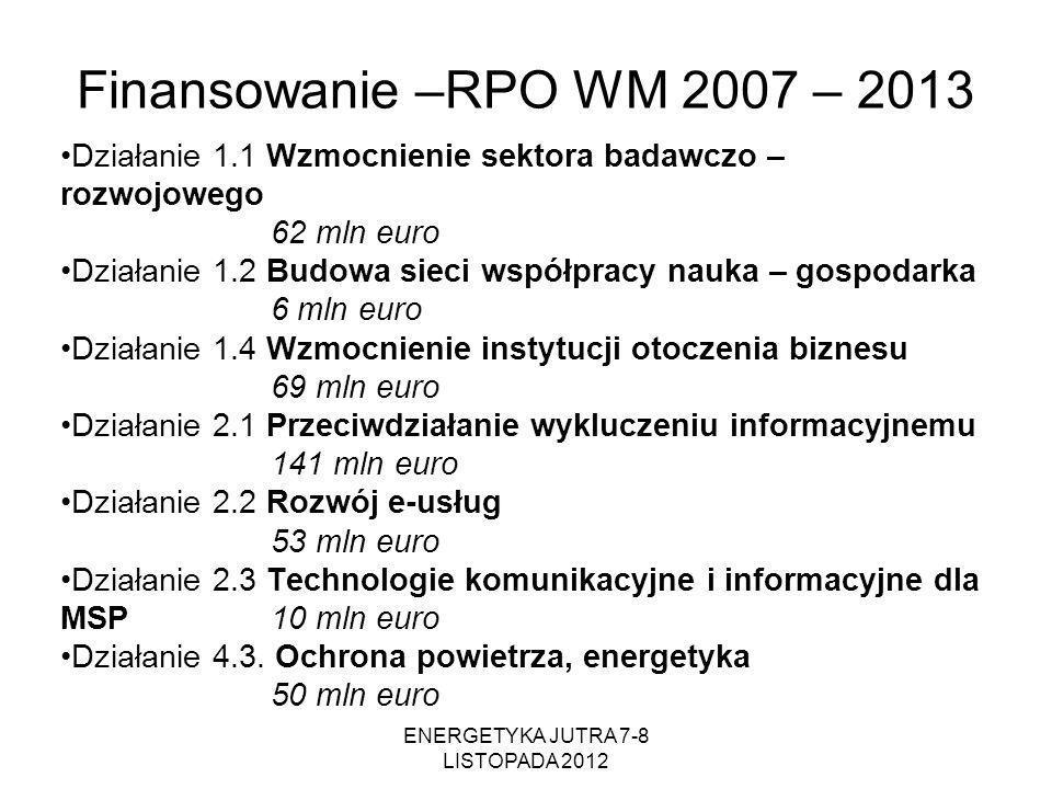 Finansowanie –RPO WM 2007 – 2013 Działanie 1.1 Wzmocnienie sektora badawczo – rozwojowego 62 mln euro Działanie 1.2 Budowa sieci współpracy nauka – go