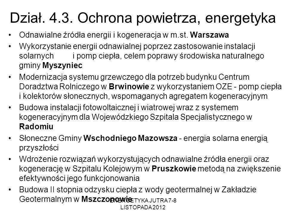 Dział. 4.3. Ochrona powietrza, energetyka Odnawialne źródła energii i kogeneracja w m.st. Warszawa Wykorzystanie energii odnawialnej poprzez zastosowa