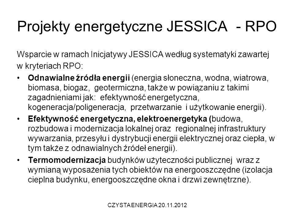 Projekty energetyczne JESSICA - RPO Wsparcie w ramach Inicjatywy JESSICA według systematyki zawartej w kryteriach RPO: Odnawialne źródła energii (ener