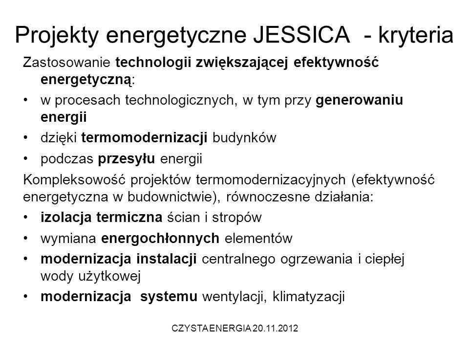 Projekty energetyczne JESSICA - kryteria Zastosowanie technologii zwiększającej efektywność energetyczną: w procesach technologicznych, w tym przy gen