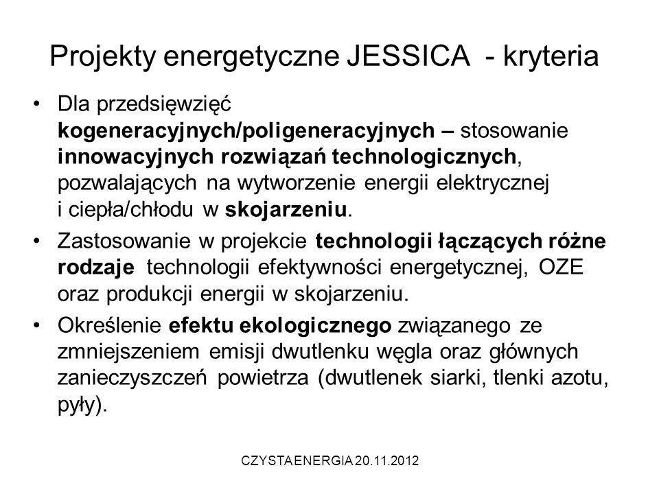 Projekty energetyczne JESSICA - kryteria Dla przedsięwzięć kogeneracyjnych/poligeneracyjnych – stosowanie innowacyjnych rozwiązań technologicznych, po