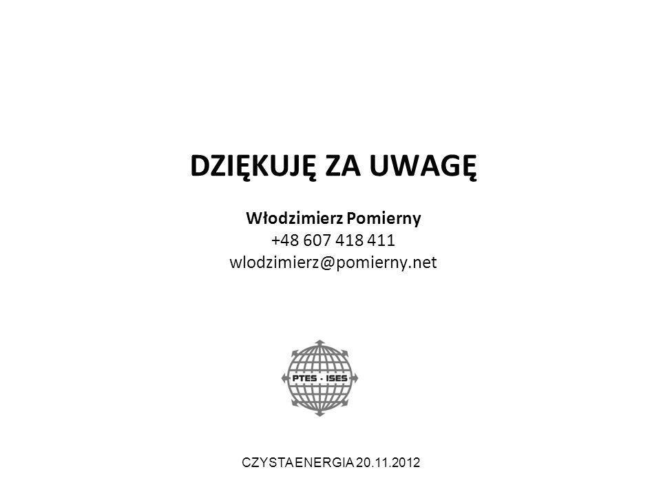 DZIĘKUJĘ ZA UWAGĘ Włodzimierz Pomierny +48 607 418 411 wlodzimierz@pomierny.net CZYSTA ENERGIA 20.11.2012