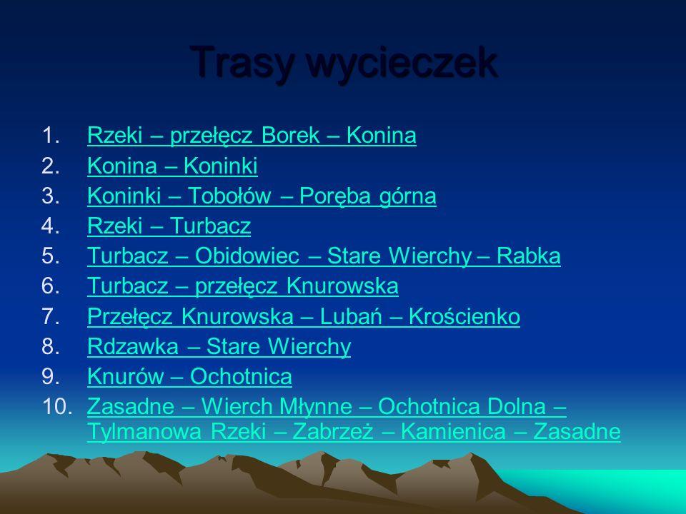 1.Rzeki – przełęcz Borek – Konina. Trasa dla rowerów z dobrymi hamulcami.