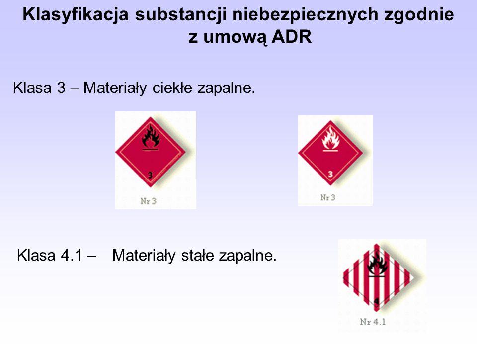Klasyfikacja substancji niebezpiecznych zgodnie z umową ADR Klasa 3 – Materiały ciekłe zapalne.