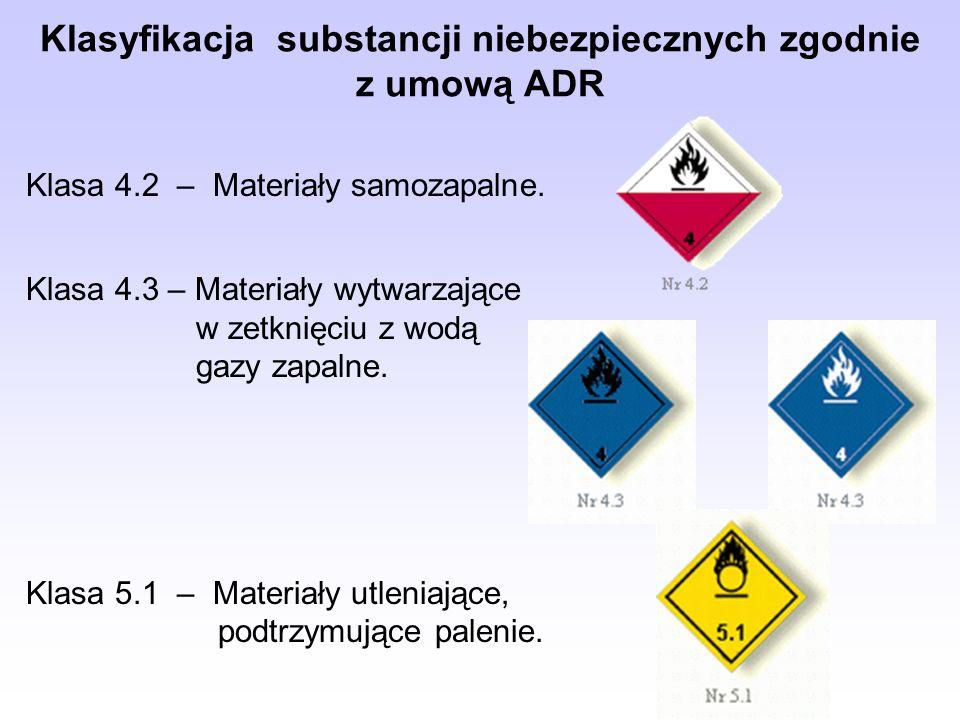 Klasyfikacja substancji niebezpiecznych zgodnie z umową ADR Klasa 4.2 – Materiały samozapalne.