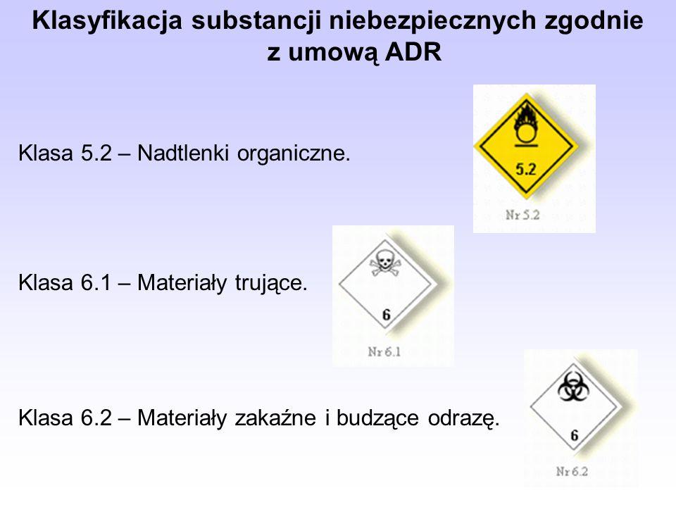 Klasyfikacja substancji niebezpiecznych zgodnie z umową ADR Klasa 5.2 – Nadtlenki organiczne.