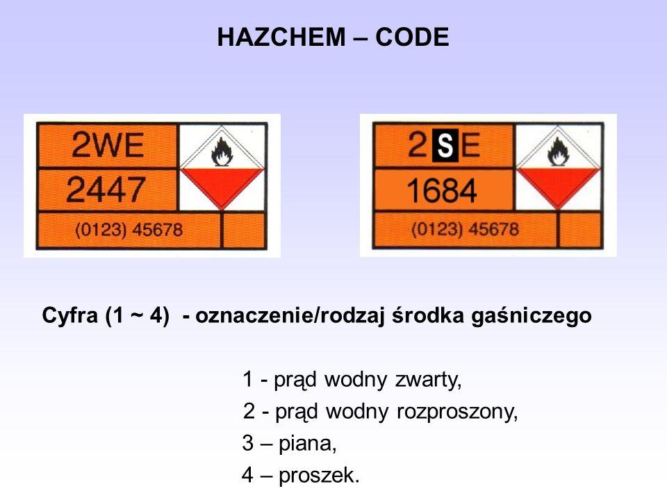 HAZCHEM – CODE Cyfra (1 ~ 4) - oznaczenie/rodzaj środka gaśniczego 1 - prąd wodny zwarty, 2 - prąd wodny rozproszony, 3 – piana, 4 – proszek.