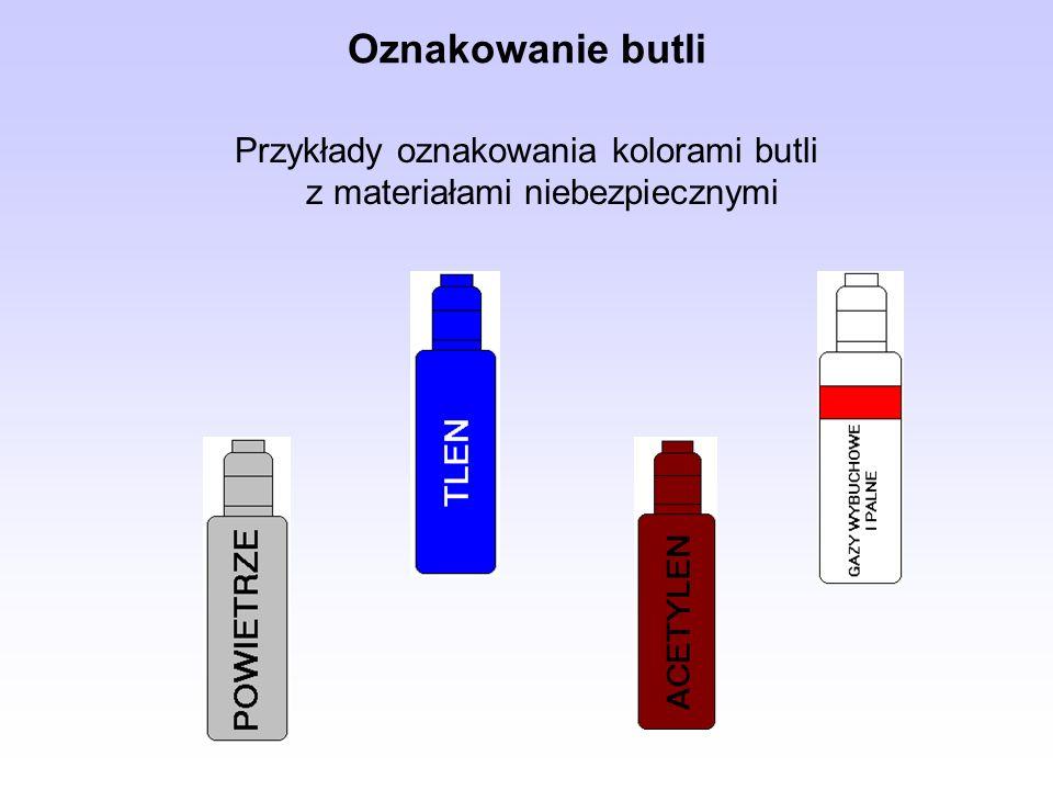 Oznakowanie butli Przykłady oznakowania kolorami butli z materiałami niebezpiecznymi