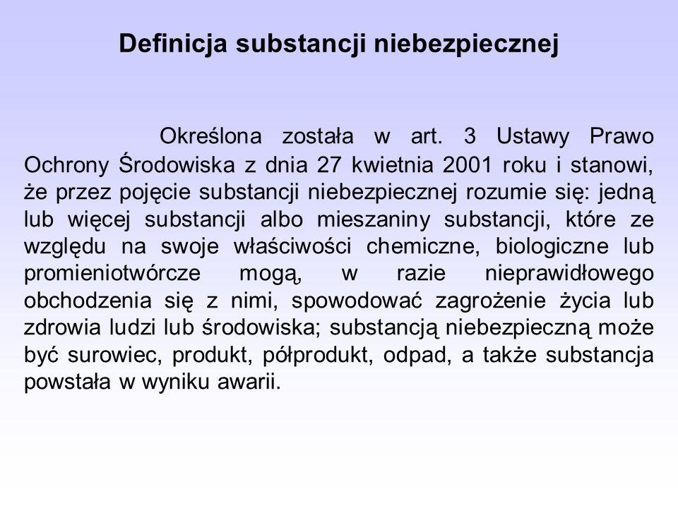 Definicja substancji niebezpiecznej Określona została w art.