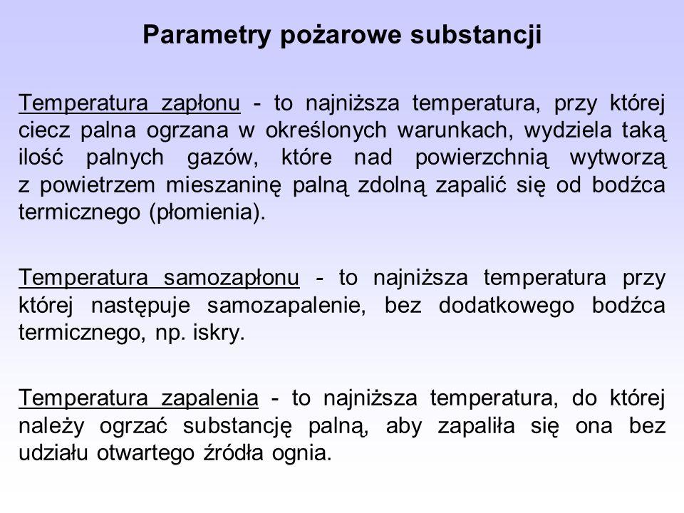Parametry pożarowe substancji Temperatura zapłonu - to najniższa temperatura, przy której ciecz palna ogrzana w określonych warunkach, wydziela taką ilość palnych gazów, które nad powierzchnią wytworzą z powietrzem mieszaninę palną zdolną zapalić się od bodźca termicznego (płomienia).
