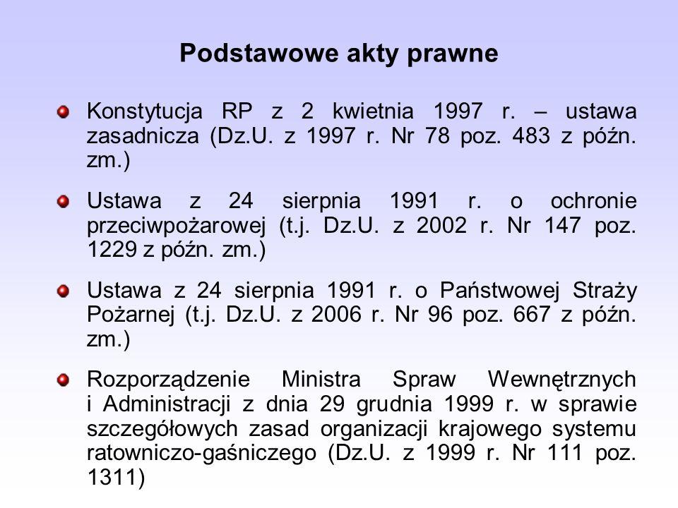 Podstawowe akty prawne Konstytucja RP z 2 kwietnia 1997 r. – ustawa zasadnicza (Dz.U. z 1997 r. Nr 78 poz. 483 z późn. zm.) Ustawa z 24 sierpnia 1991