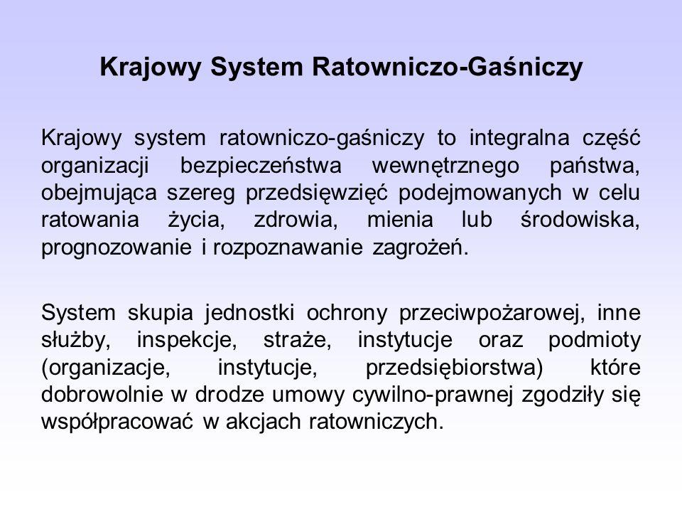 Krajowy System Ratowniczo-Gaśniczy Krajowy system ratowniczo-gaśniczy to integralna część organizacji bezpieczeństwa wewnętrznego państwa, obejmująca