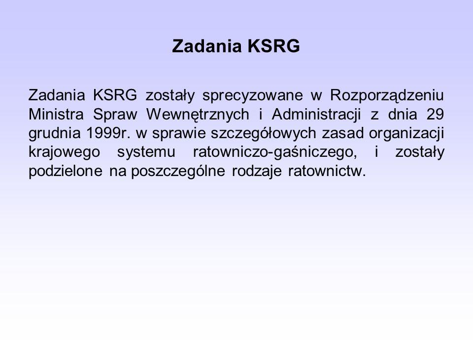 Zadania KSRG Zadania KSRG zostały sprecyzowane w Rozporządzeniu Ministra Spraw Wewnętrznych i Administracji z dnia 29 grudnia 1999r. w sprawie szczegó