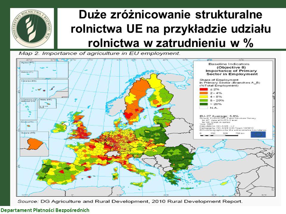 33 Departament Płatności Bezpośrednich Duże zróżnicowanie strukturalne rolnictwa UE na przykładzie udziału rolnictwa w zatrudnieniu w %