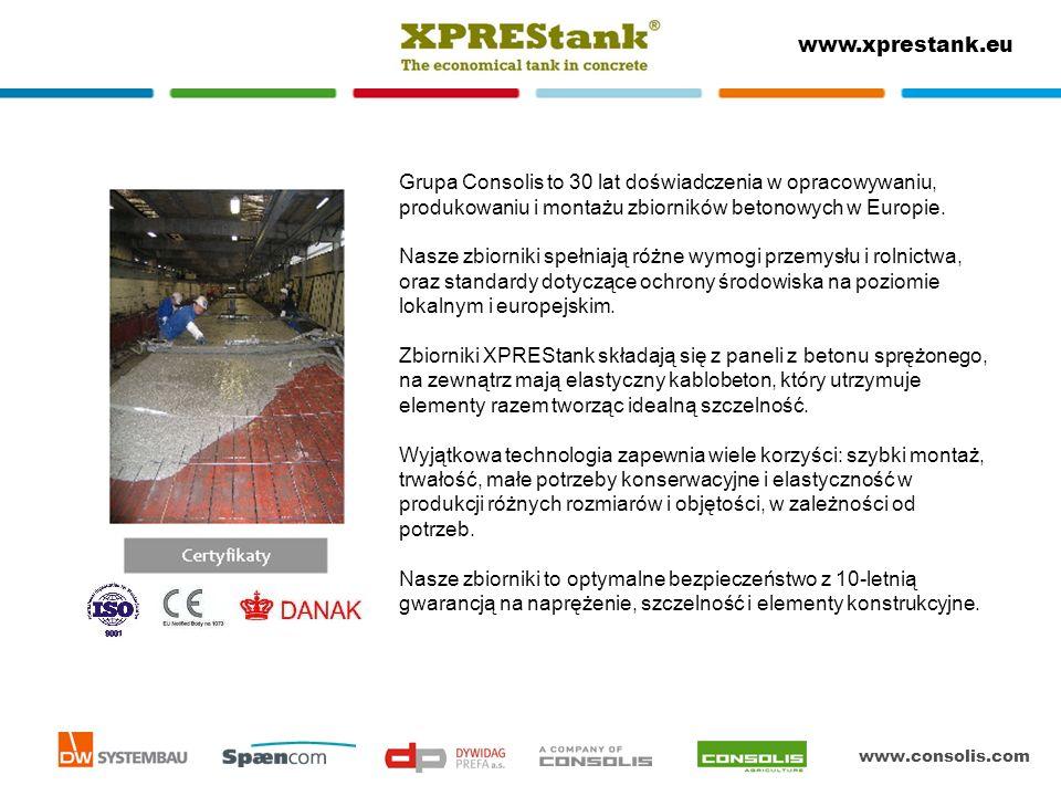 www.consolis.com www.xprestank.eu Grupa Consolis to 30 lat doświadczenia w opracowywaniu, produkowaniu i montażu zbiorników betonowych w Europie. Nasz
