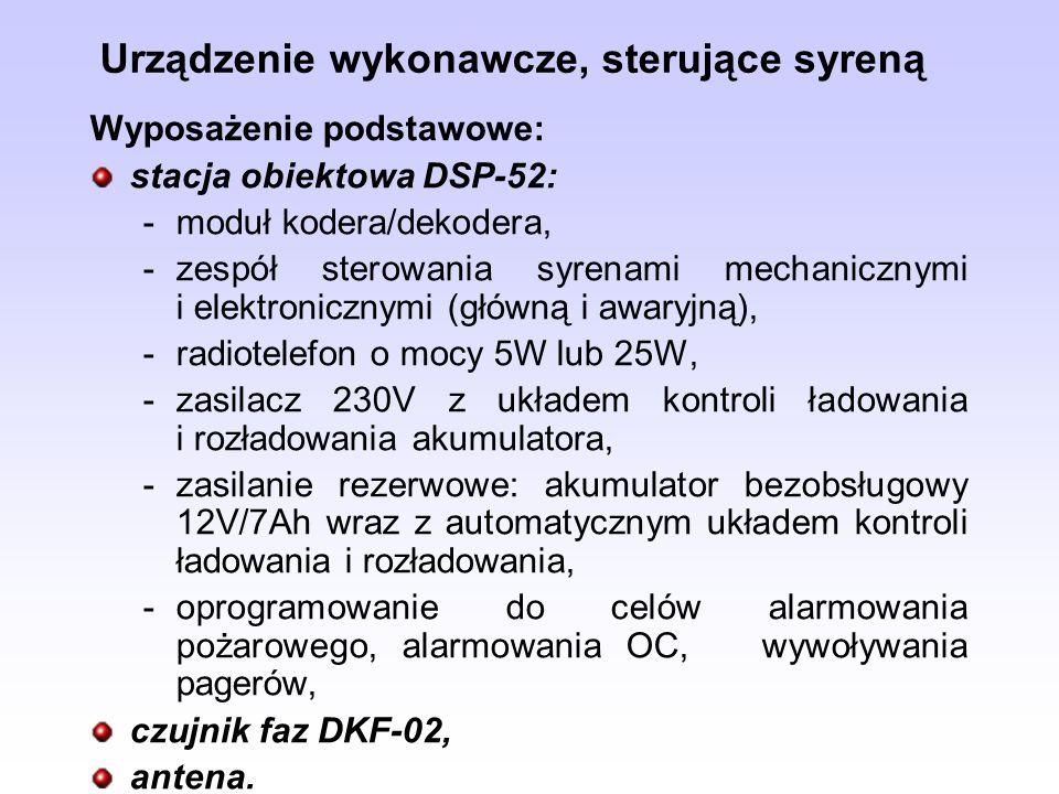 Urządzenie wykonawcze, sterujące syreną Wyposażenie podstawowe: stacja obiektowa DSP-52: -moduł kodera/dekodera, -zespół sterowania syrenami mechanicz