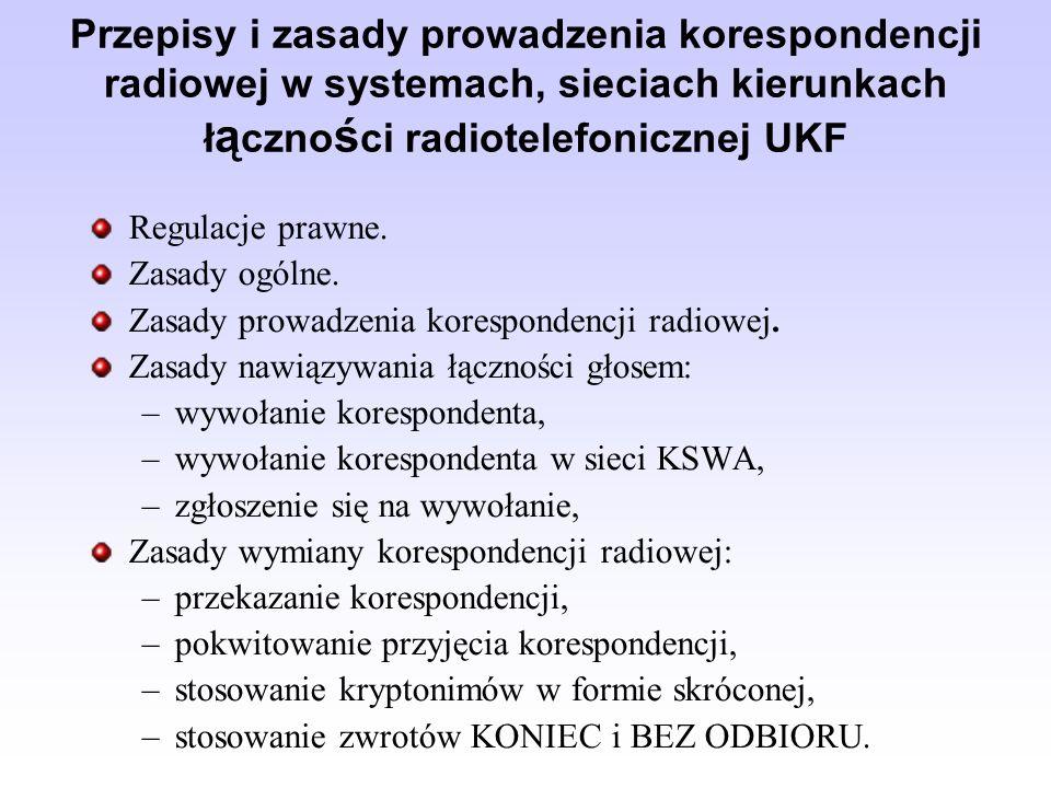 Przepisy i zasady prowadzenia korespondencji radiowej w systemach, sieciach kierunkach ł ą czno ś ci radiotelefonicznej UKF Regulacje prawne. Zasady o