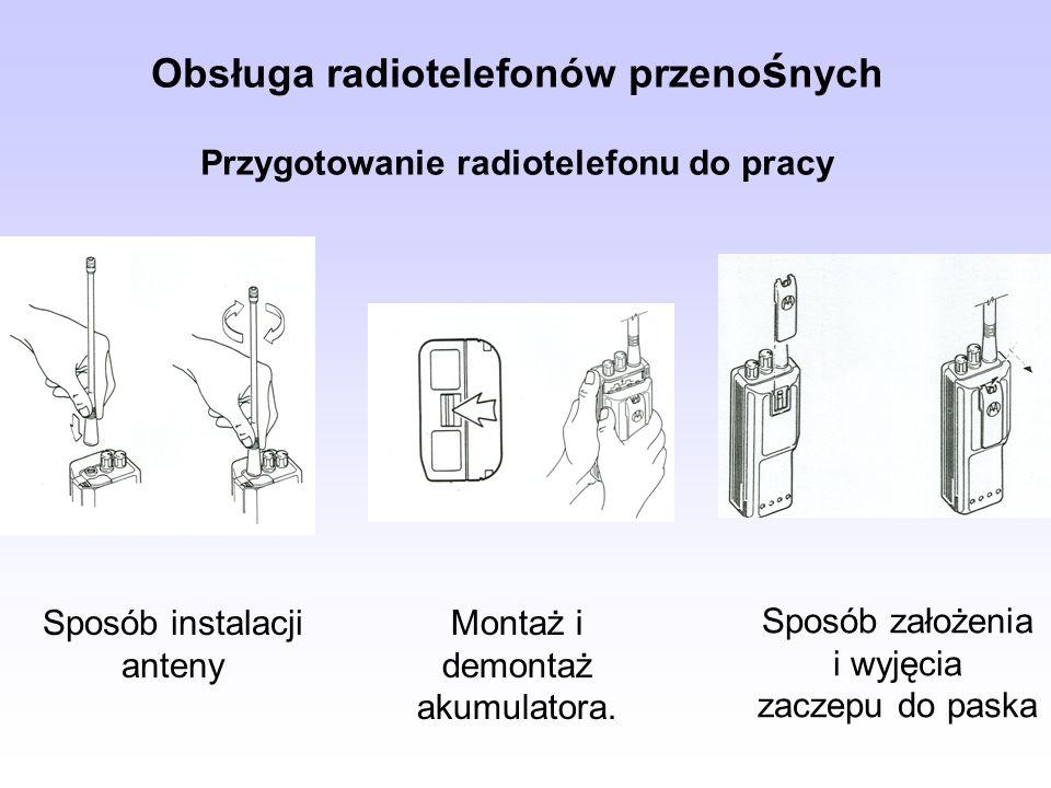 Obsługa radiotelefonów przeno ś nych Przygotowanie radiotelefonu do pracy Sposób instalacji anteny Montaż i demontaż akumulatora. Sposób założenia i w