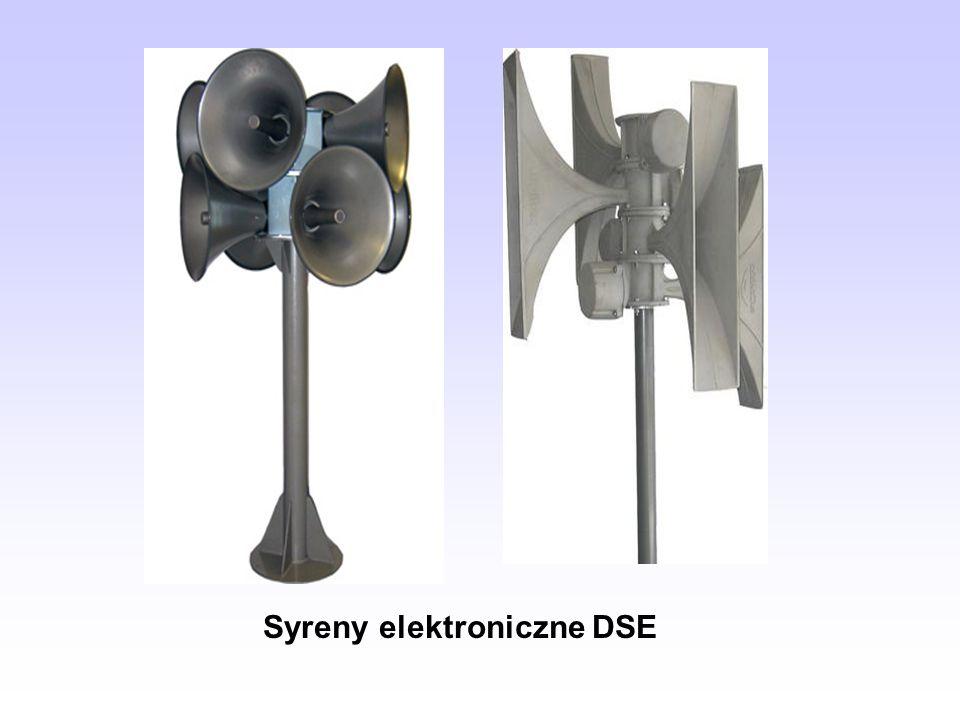 ZALETY SYREN ELEKTRONICZNYCH przekazywanie komunikatów głosowych w czasie rzeczywistym (lub komunikatów stałych - wcześniej nagranych), pełnienie funkcji syreny rezerwowej w przypadku braku zasilania 230V, mniejszy pobór prądu (niższe koszty eksploatacji, nie ma potrzeby opłacania abonamentu za większy pobór mocy z łącza 3-fazowego), możliwość uzyskania kierunkowej lub dookólnej charakterystyki dźwiękowej, lepsza odporność na warunki atmosferyczne np.