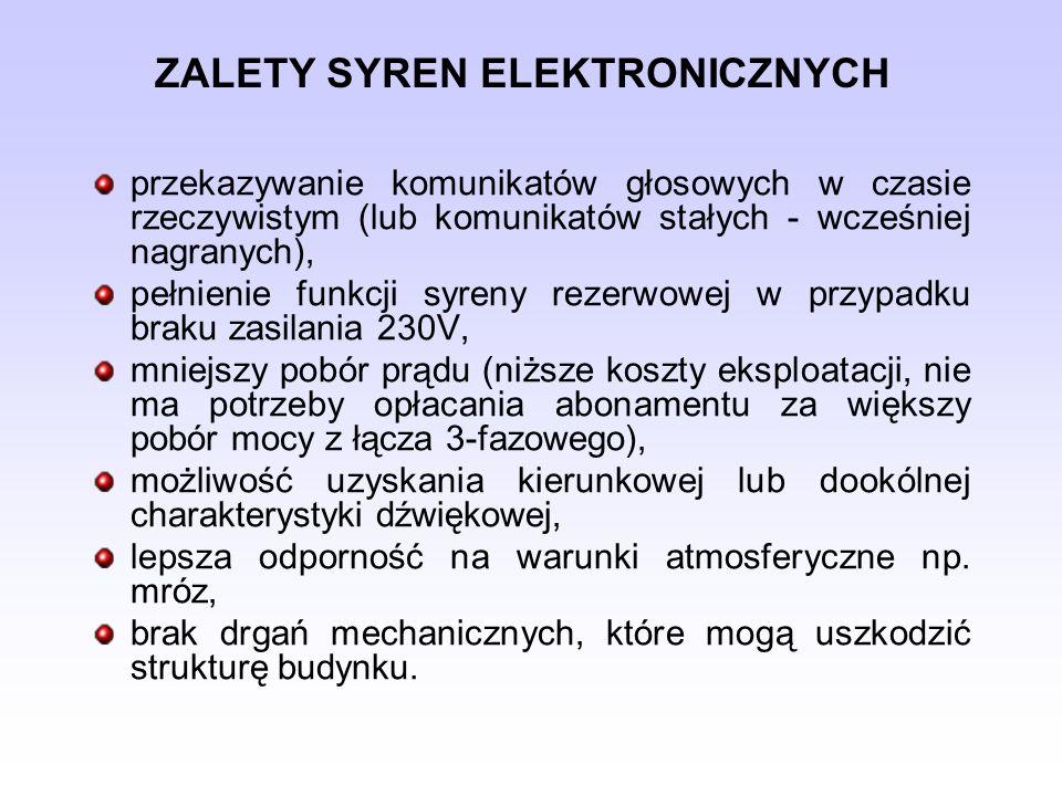 ZALETY SYREN ELEKTRONICZNYCH przekazywanie komunikatów głosowych w czasie rzeczywistym (lub komunikatów stałych - wcześniej nagranych), pełnienie funk