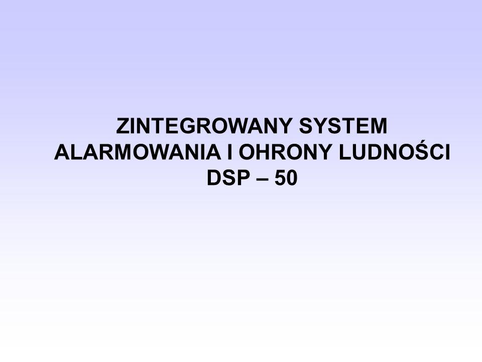 PRZEZNACZENIE SYSTEMU DSP-50 Zintegrowany System Alarmowania i Ochrony Ludności DSP-50 przeznaczony jest do zdalnego, radiowego uruchamiania syren alarmowych OSP i OC, a także do powiadamiania osób funkcyjnych za pomocą odbiorników indywidualnych (pagerów).