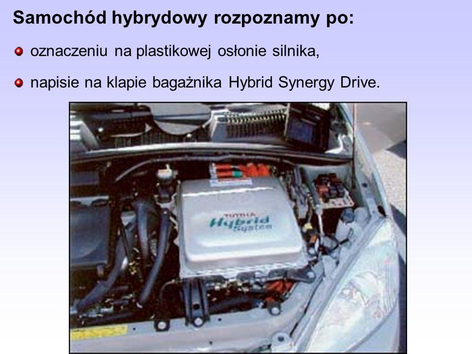 Samochód hybrydowy rozpoznamy po: oznaczeniu na plastikowej osłonie silnika, napisie na klapie bagażnika Hybrid Synergy Drive.