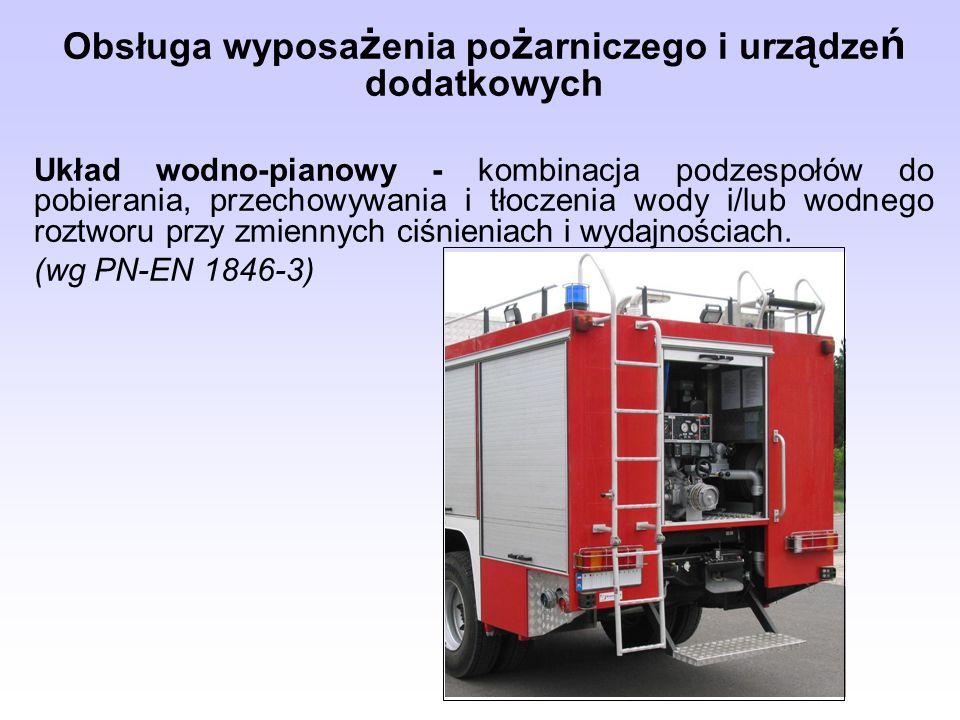 Obsługa wyposa ż enia po ż arniczego i urz ą dze ń dodatkowych Układ wodno-pianowy - kombinacja podzespołów do pobierania, przechowywania i tłoczenia