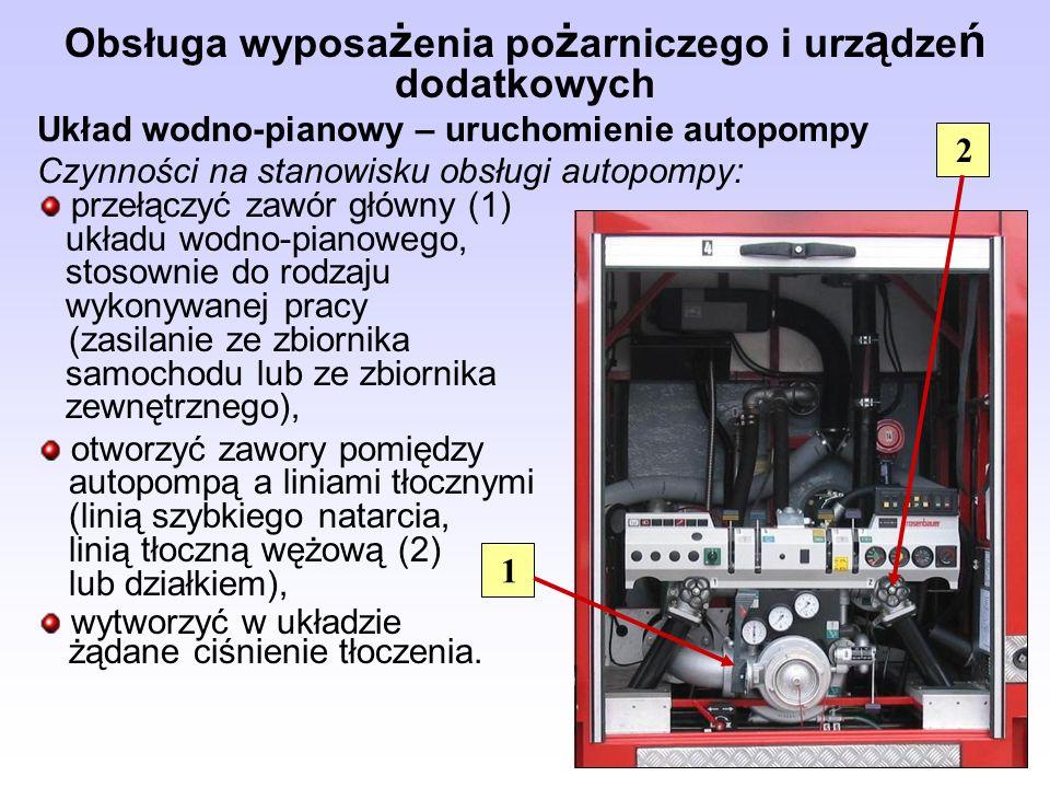 Obsługa wyposa ż enia po ż arniczego i urz ą dze ń dodatkowych Układ wodno-pianowy – uruchomienie autopompy Czynności na stanowisku obsługi autopompy: