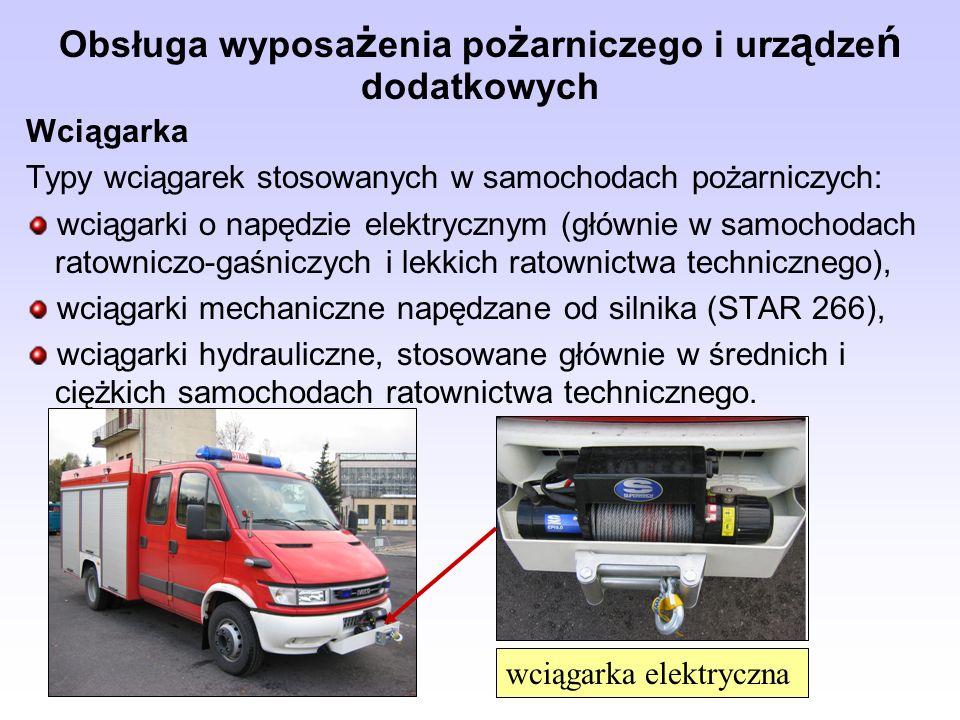 Obsługa wyposa ż enia po ż arniczego i urz ą dze ń dodatkowych Wciągarka Typy wciągarek stosowanych w samochodach pożarniczych: wciągarki o napędzie e