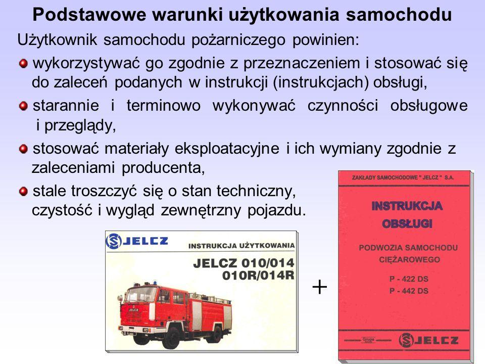 Podstawowe warunki użytkowania samochodu Użytkownik samochodu pożarniczego powinien: wykorzystywać go zgodnie z przeznaczeniem i stosować się do zalec