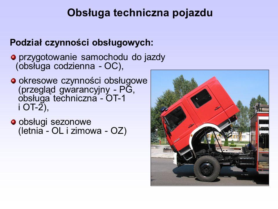 Obsługa techniczna pojazdu Podział czynności obsługowych: przygotowanie samochodu do jazdy (obsługa codzienna - OC), okresowe czynności obsługowe (prz