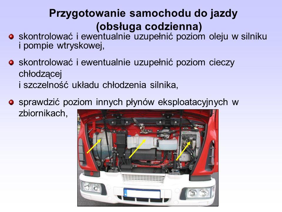 Przygotowanie samochodu do jazdy (obsługa codzienna) skontrolować i ewentualnie uzupełnić poziom oleju w silniku i pompie wtryskowej, skontrolować i e