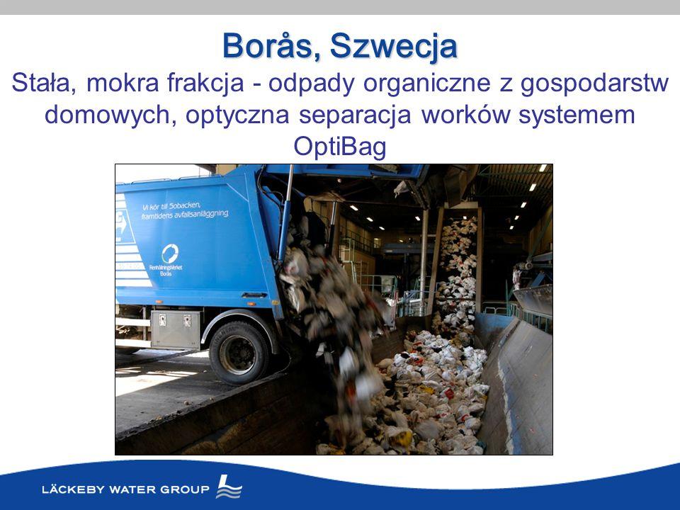 Borås, Szwecja Stała, mokra frakcja - odpady organiczne z gospodarstw domowych, optyczna separacja worków systemem OptiBag