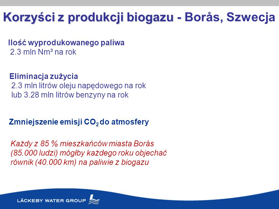 Korzyści z produkcji biogazu - Korzyści z produkcji biogazu - Borås, Szwecja Ilość wyprodukowanego paliwa 2.3 mln Nm³ na rok Eliminacja zużycia 2.3 ml